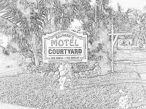 Richard's Motel Logo Court Yard Coloring Book